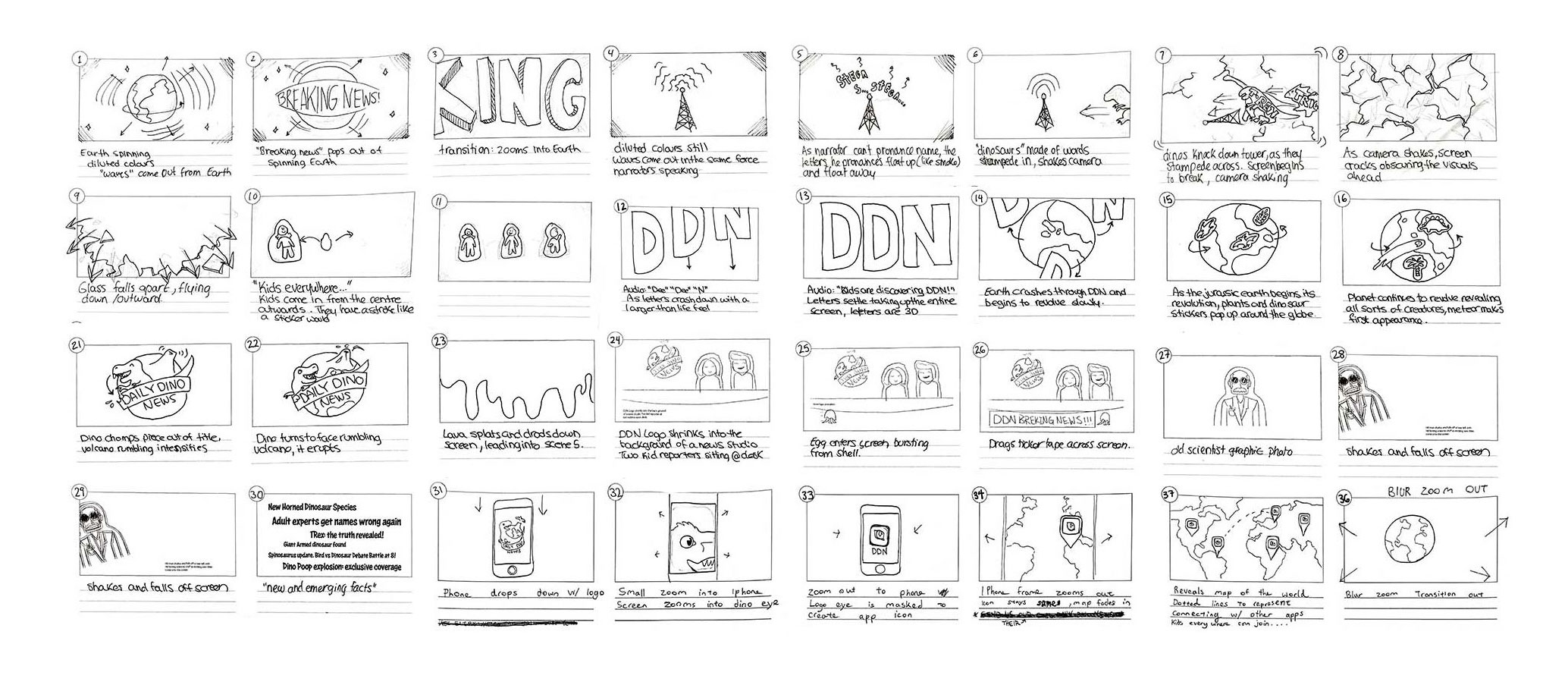 storyboarding for daily dino news video pitch trailer