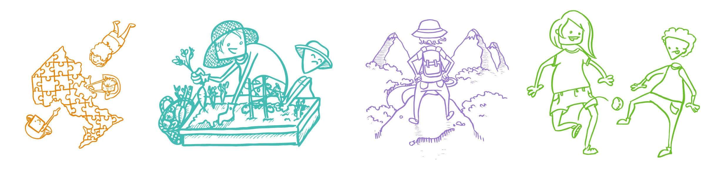illustrations of different characters performing wholesome activities, like gardening, playing hackey sack, or hiking.
