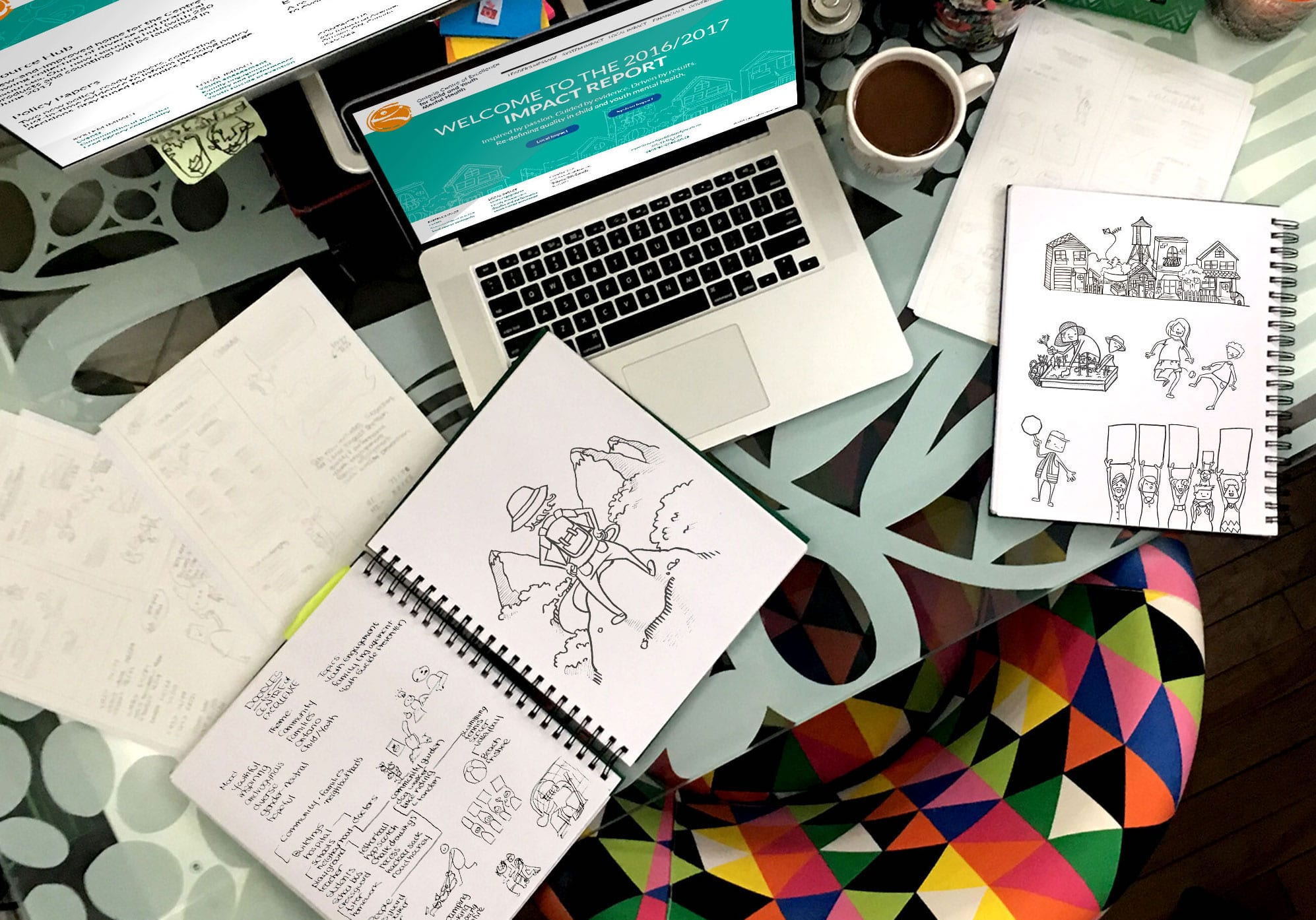 shows the designer Lore Berg's home office, where she worked on the website wireframes and illustrations for the report
