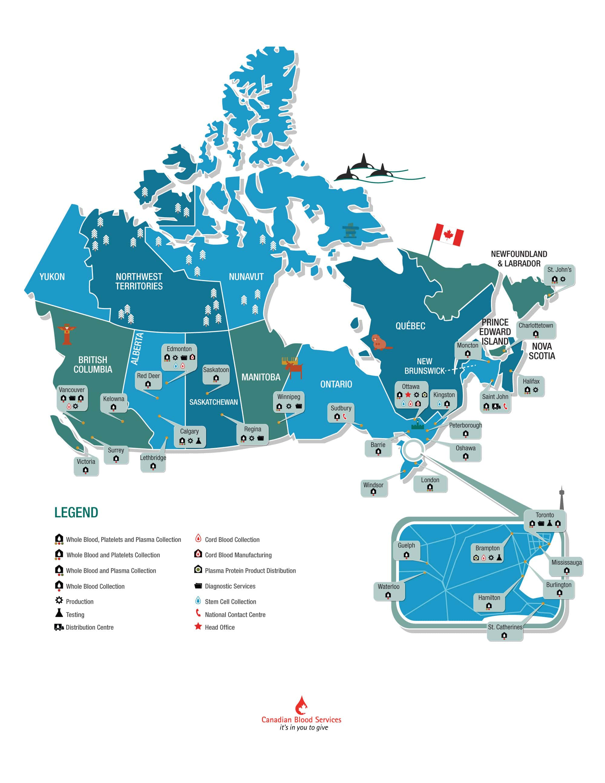 operations map with special Canada 150 graphics of popular Canadiana. Illustrations of things like orca whales, a totem pole, the parliament buildings, and of course a beaver