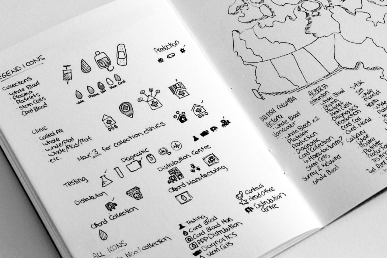 sketchbook planning the organization of the map, and the design of the legend icons